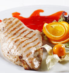 Chicken Grilled Steak with Sauce. Isolated on White Background
