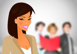 Beautifull business woman in her workspace with other people poster
