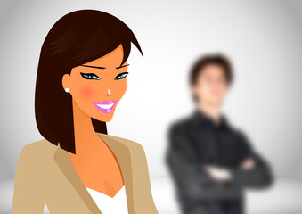 Beautifull business woman in her workspace with other people