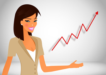 Business woman with success background