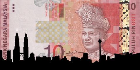 Kuala Lumpur skyline against ten Ringgit note illustration