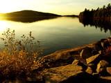 Dramatic sunset at lake. Autumn, October. poster