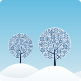 Winter Trees. Easy to edit vector image. poster