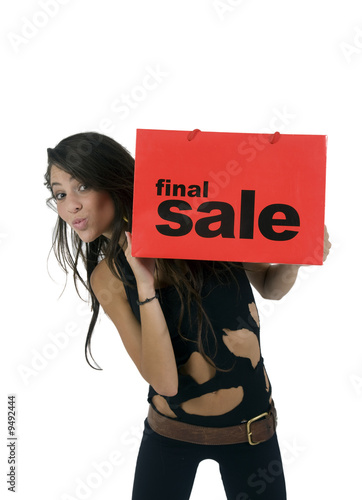 pretty woman with shopping-bag on white background