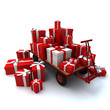 Heap of gift boxes on pallet truck