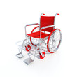3D-rendering of a red wheelchair on a white background