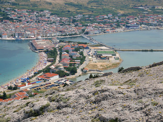 Landscape of city of Pag, Pag island, Croatia, Adriatic sea