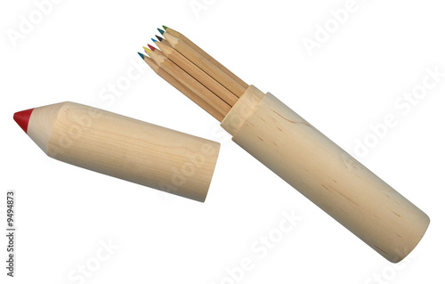 Big wooden pencil and colored pencils. Clipping path.