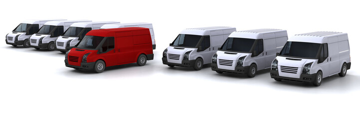 One red van standing out from a fleet of white vans