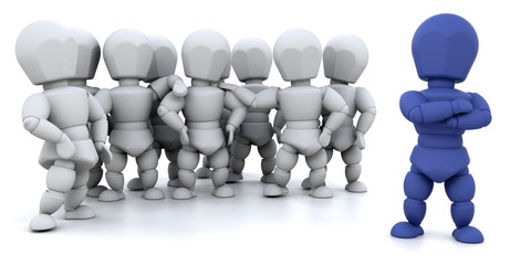 3D render showing a group of people with a team leader