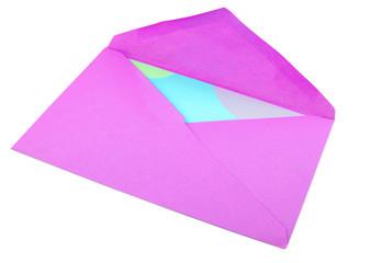 isolated greeting card inside pinkish purple envelope
