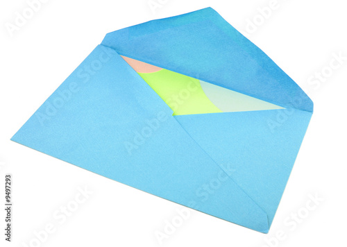 isolated greeting card inside blue envelope stationary
