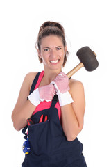 woman with black rubber mallet on white background