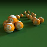 Orange billiard balls number 13 on green felt table poster