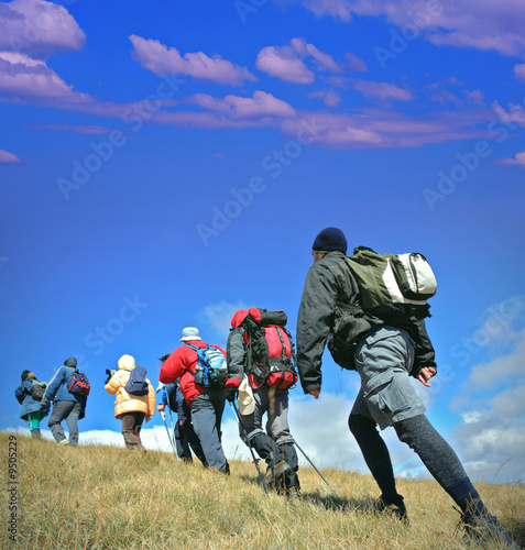 Alpine expedition going towards peak Korab, Macedonia
