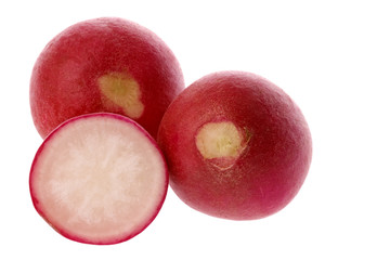 Isolated macro image of red radish.