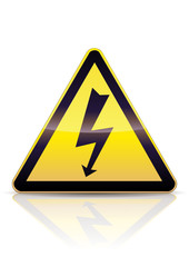 Panneau de danger électrique (reflet métal)