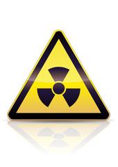 Panneau de danger radioactivité (reflet métal)