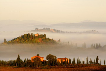 Bauernhöfe ragen aus dem Morgennebel heraus, Toskana