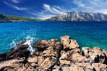 beautiful landscape with coast and blue sky