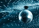 Shiny disco ball on nightclub poster