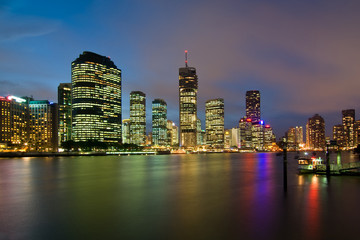 A View of Brisbane River and City just after sunset