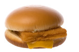 Isolated macro image of fish filet burger.
