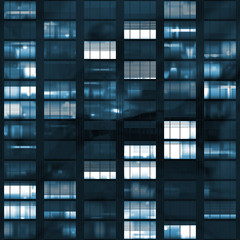 Voyeuring Office Building After Dark In Blue Tones