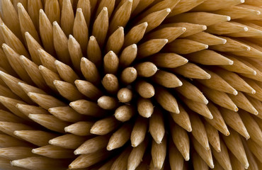close-up of toothpicks tips