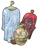 African craftsmanship:dress,mask,bowl and jar poster