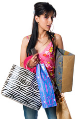girl with shopping bags, isolated on white background