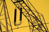 Electricity pillar with insulator and thick cable, high voltage poster