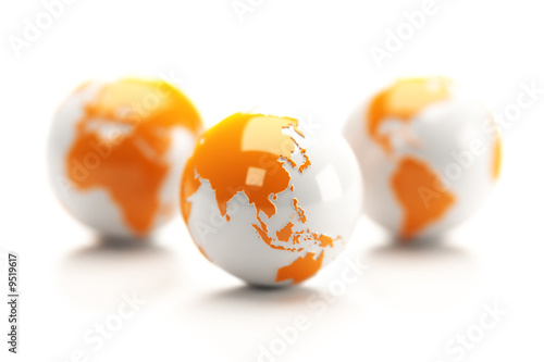 Earth globes isolated over a white background.