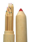 Wooden pencil-case filled with colored pencils. Clipping path.