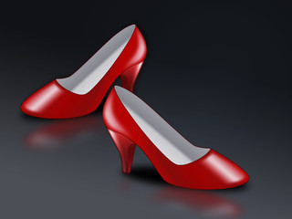 red high-heel shoe on dark background