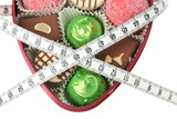 Delicious high-calorie chocolate with measuring tape poster