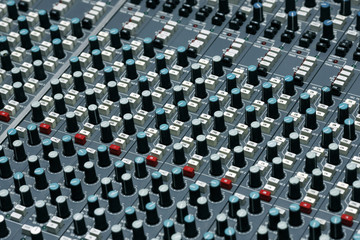Detail of a mixing board in a recording studio