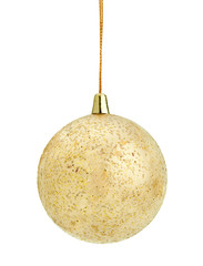 christmas gold ball, isolated on white background