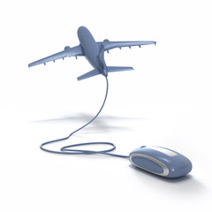 3D rendering of an airplane connected to a computer mouse