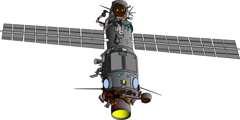 vector  illustration of satellite - orbital base