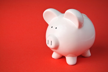 Cute Ceramic Piggy Bank Savings Isolated on Red Background