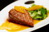 Fototapety Roasted duck breast fillet with miso-orange sauce