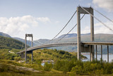big beautiful cable-braced bridge above fjord in Norway poster