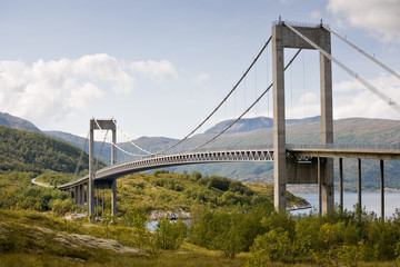 big beautiful cable-braced bridge above fjord in Norway