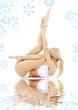fit blond in white underwear practicing yoga on white sand