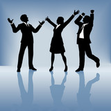 business people celebrate on gradient background poster