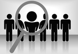 Magnifying Glass to Choose Person in Row of People on Background poster