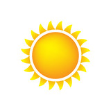 Sun Icon With Flames, Color, Gradient Orange/Yellow poster