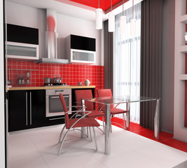 Modern interior of kitchen with a lunch zone
