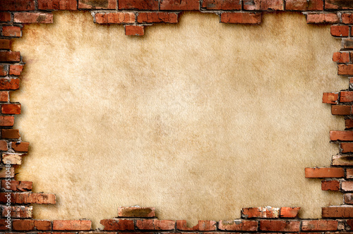 Parchment background in brick frame with clipping path